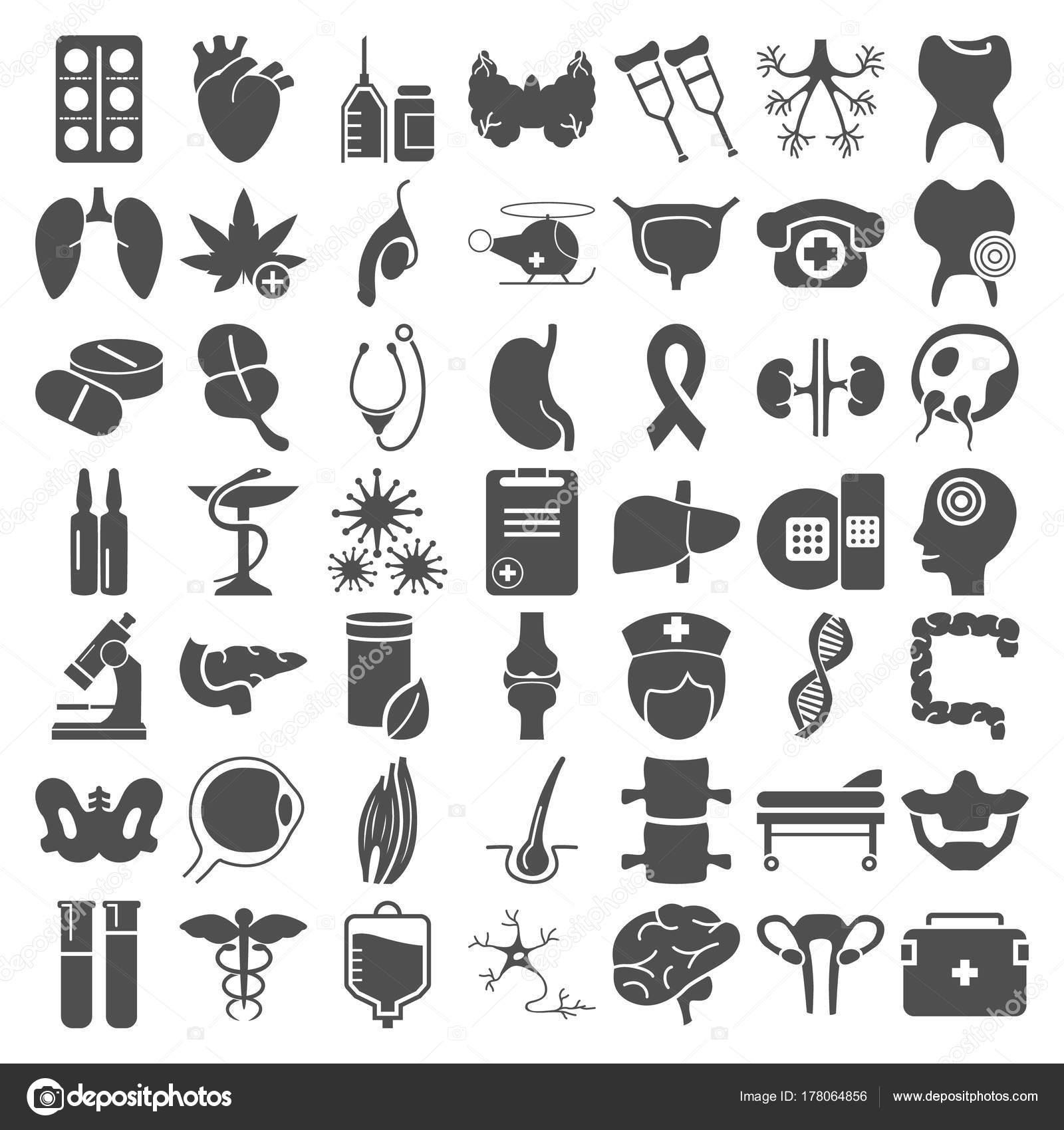 Grote geneeskunde en anatomie eenvoudige pictogrammen instellen voor ...