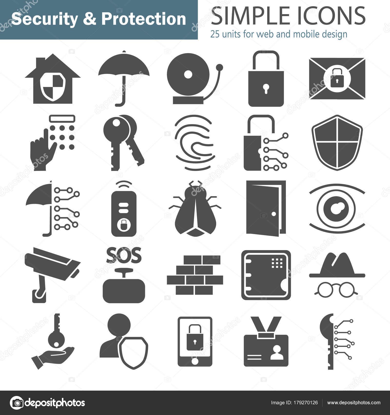 Sicherheit und einfache Symbole festlegen für Web und mobile design ...