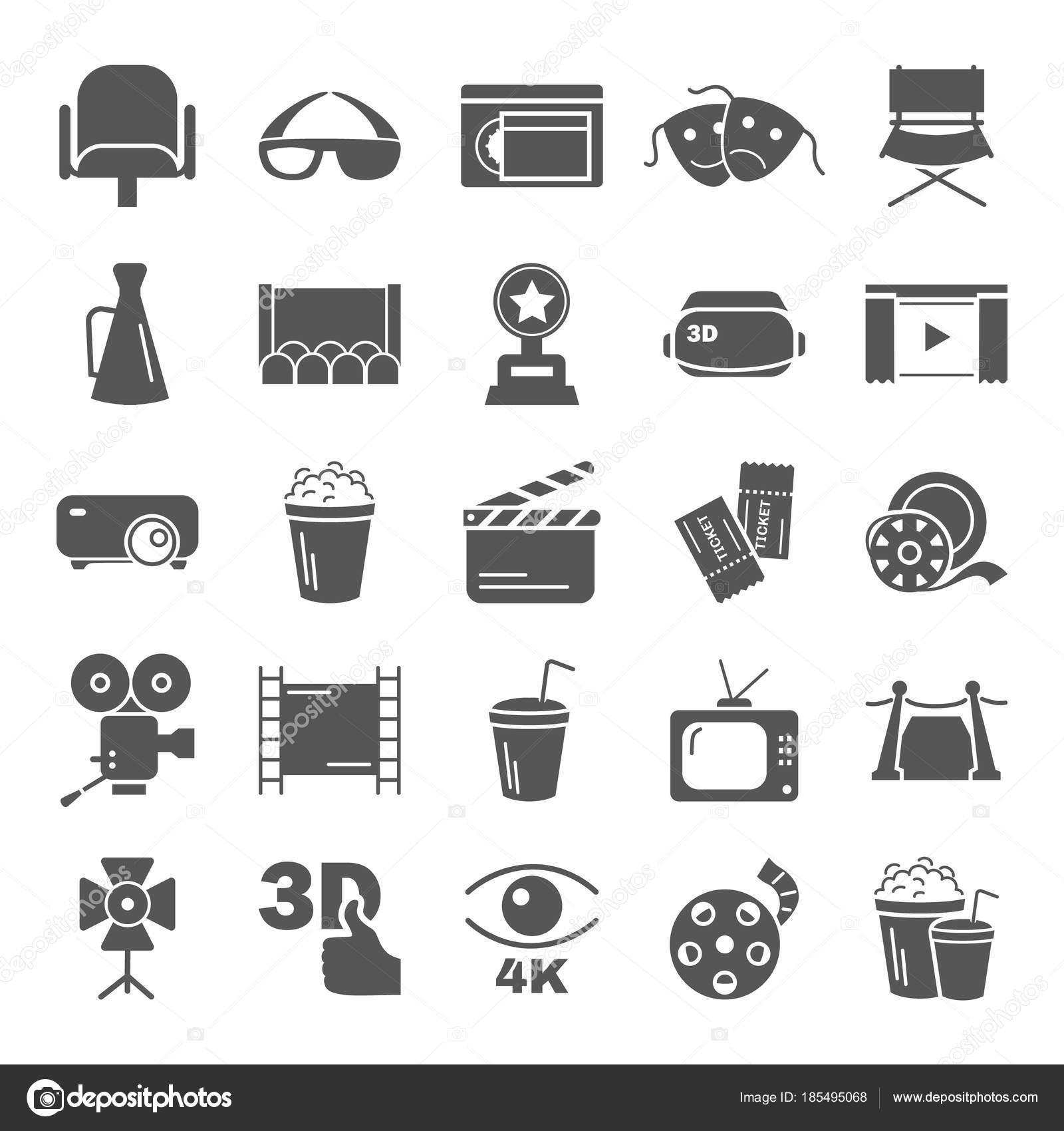 Einfache Symbole Kino set für Web und mobile design — Stockvektor ...