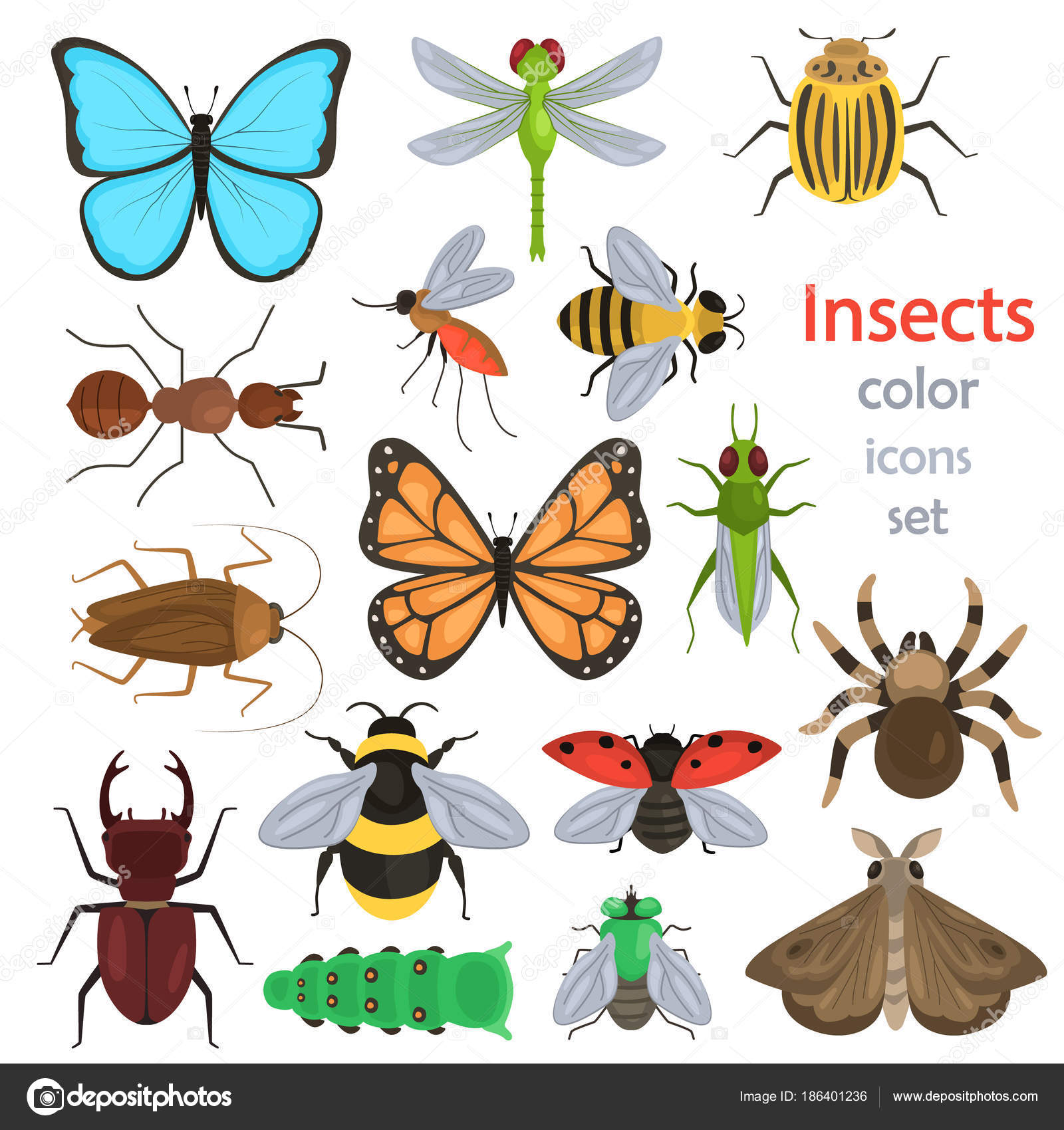 Set of different insects color flat icons — Stock Vector ...