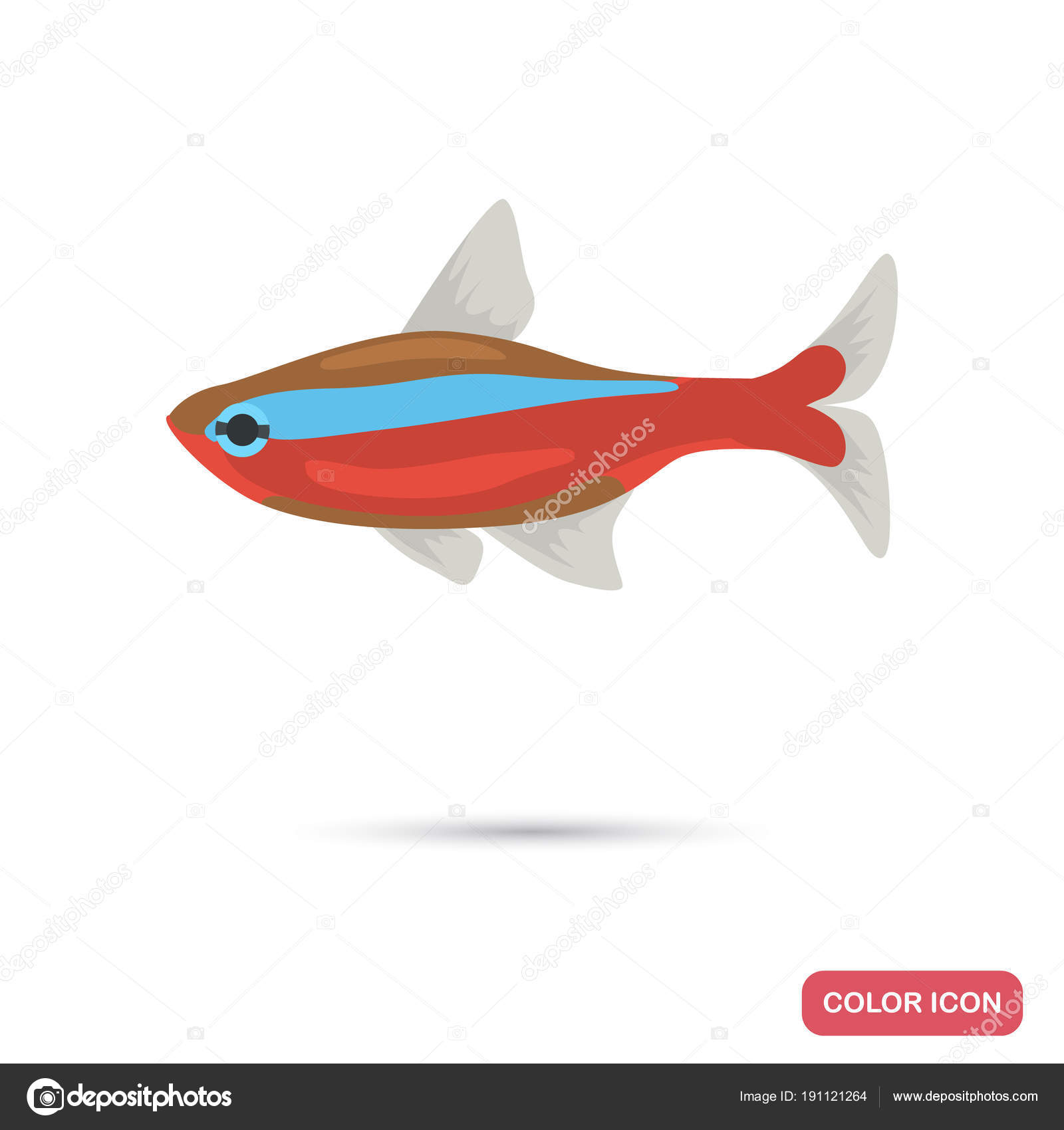 Neon aquarium fish color flat icon — Stock Vector © lynxvector ...