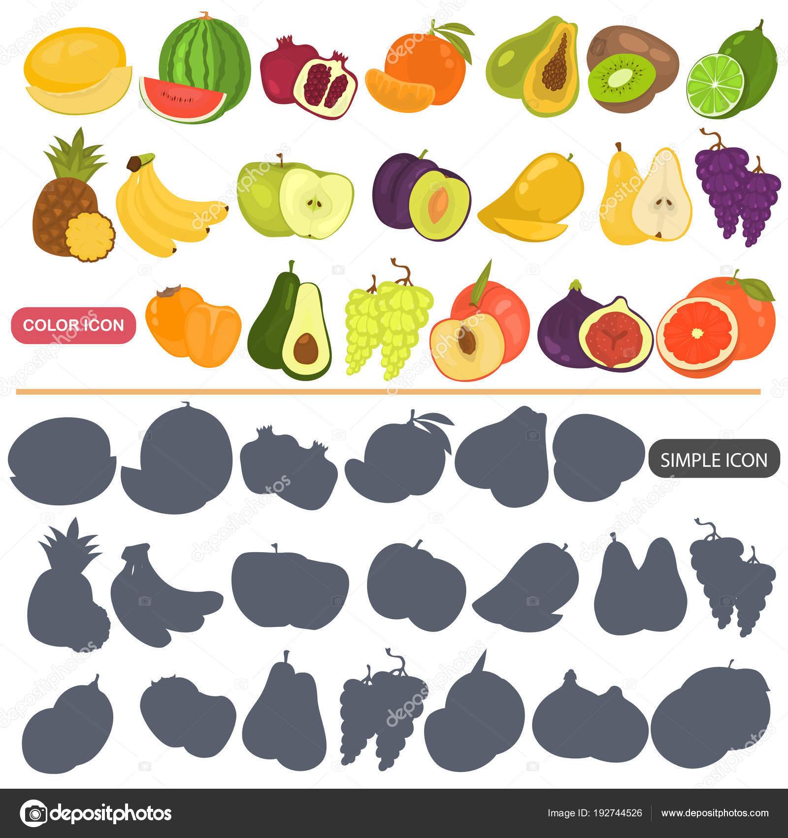 Früchte färben flache und einfache Icons set für Web und mobile ...