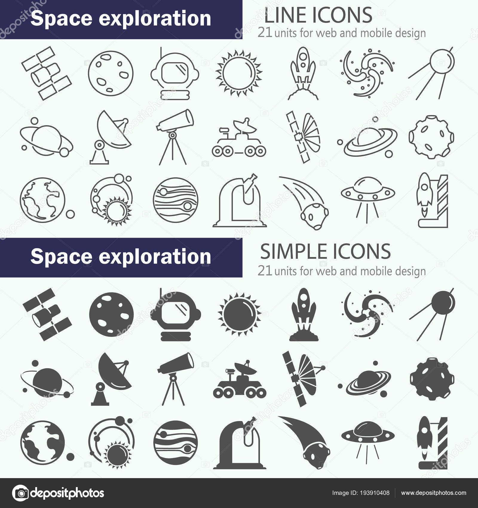 Discovery Exploration Space Line Simple Icons Set — Stock Vector