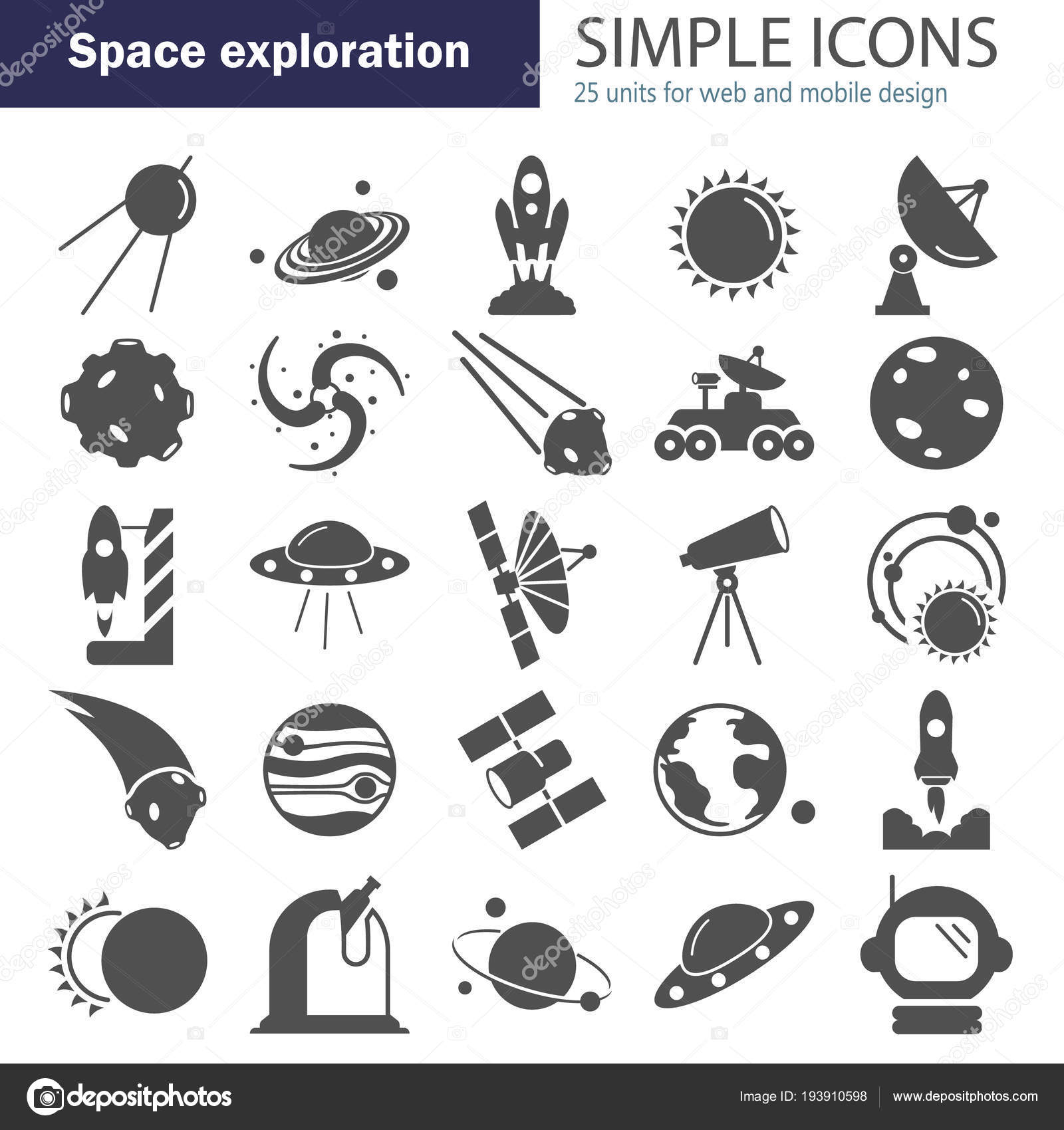 The discovery and exploration of space simple icons set — Stock Vector