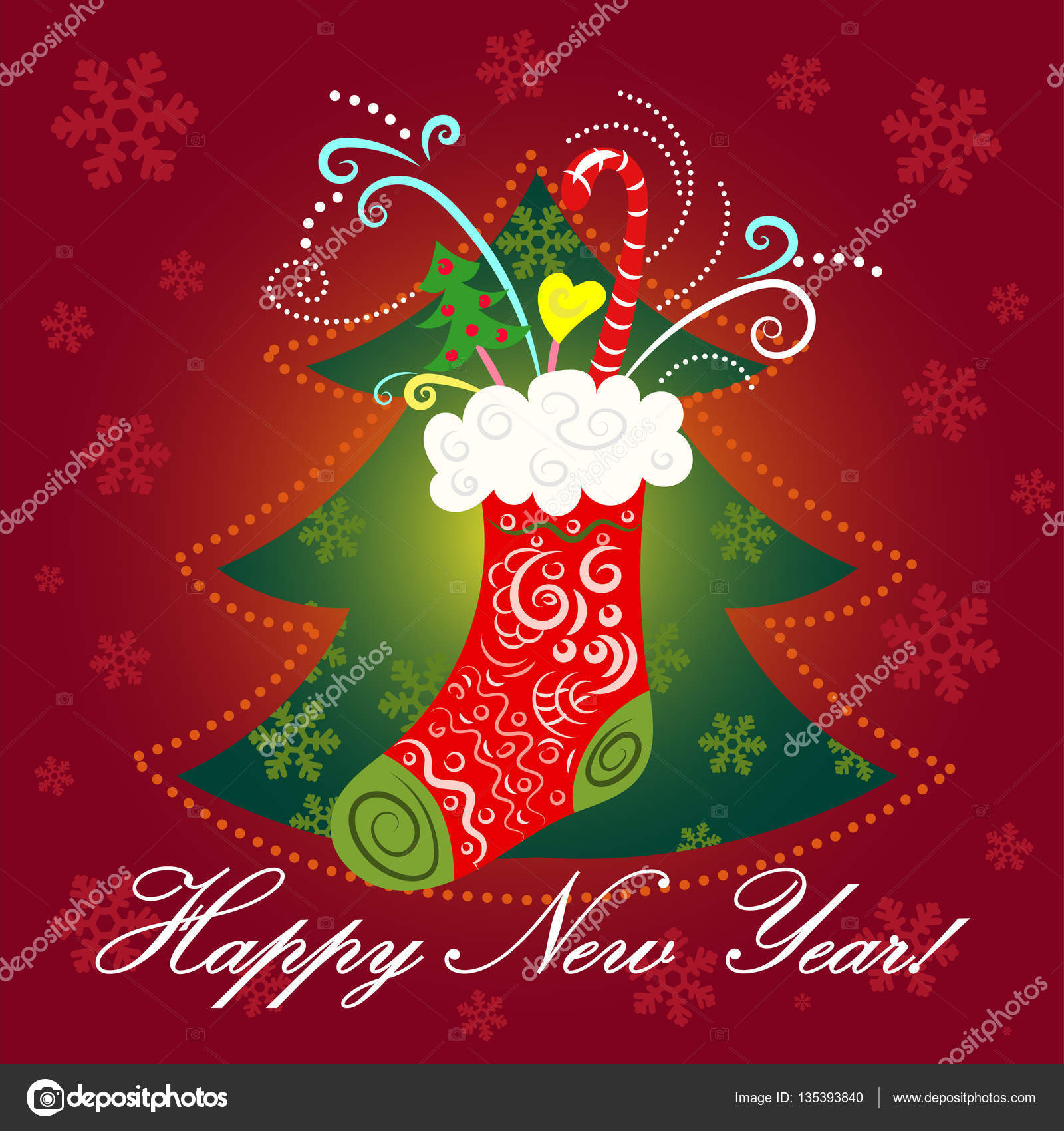 new year christmas post card collage stock vector
