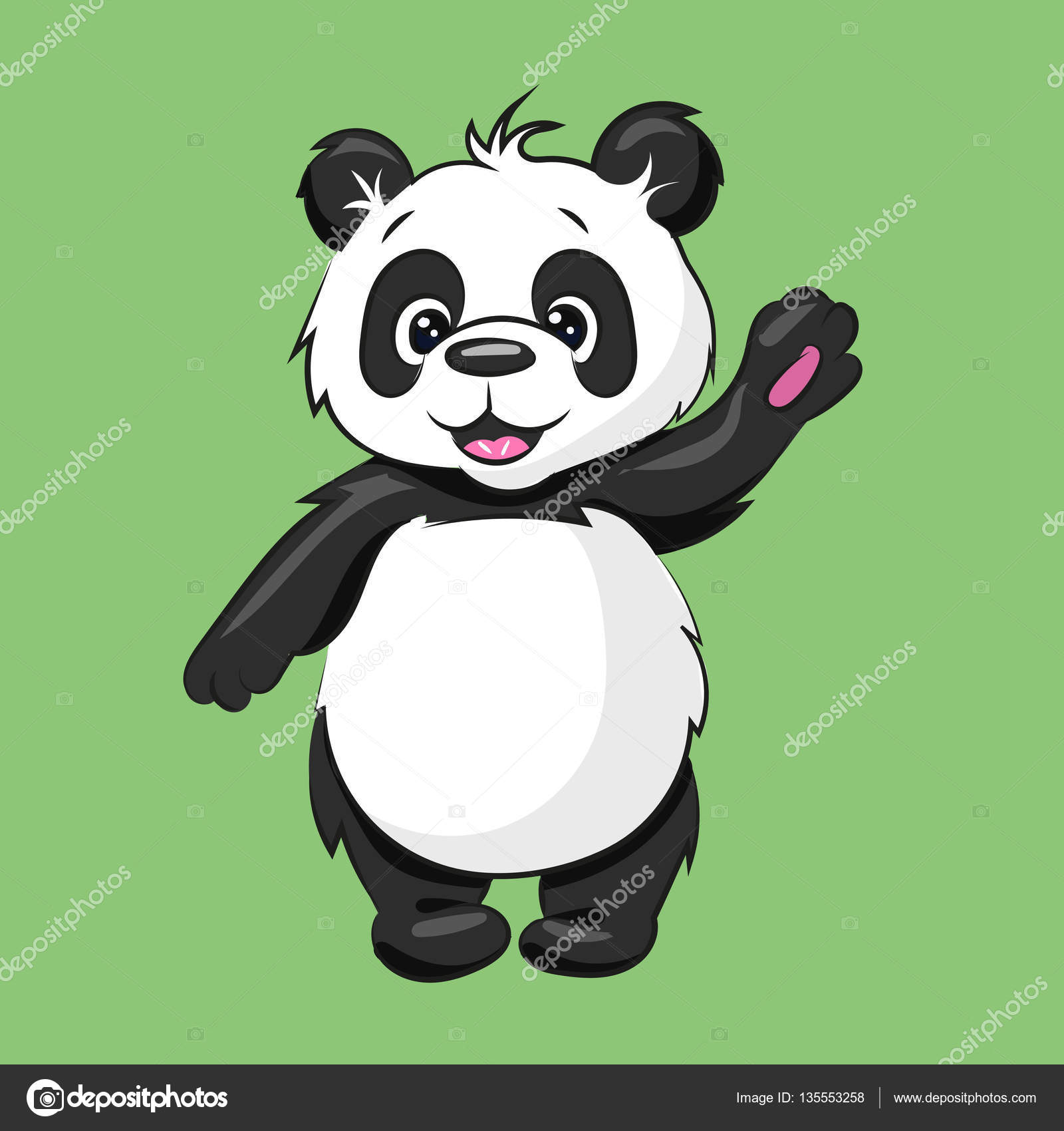 Black And White Cartoon Baby Panda At The White Background