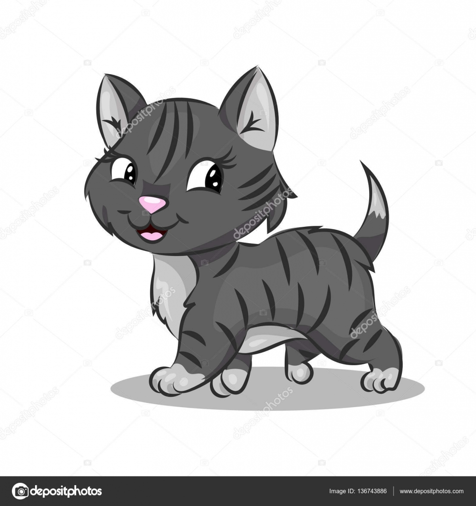 Cute Cartoon Vector Colorful Cat At The White Background Stock