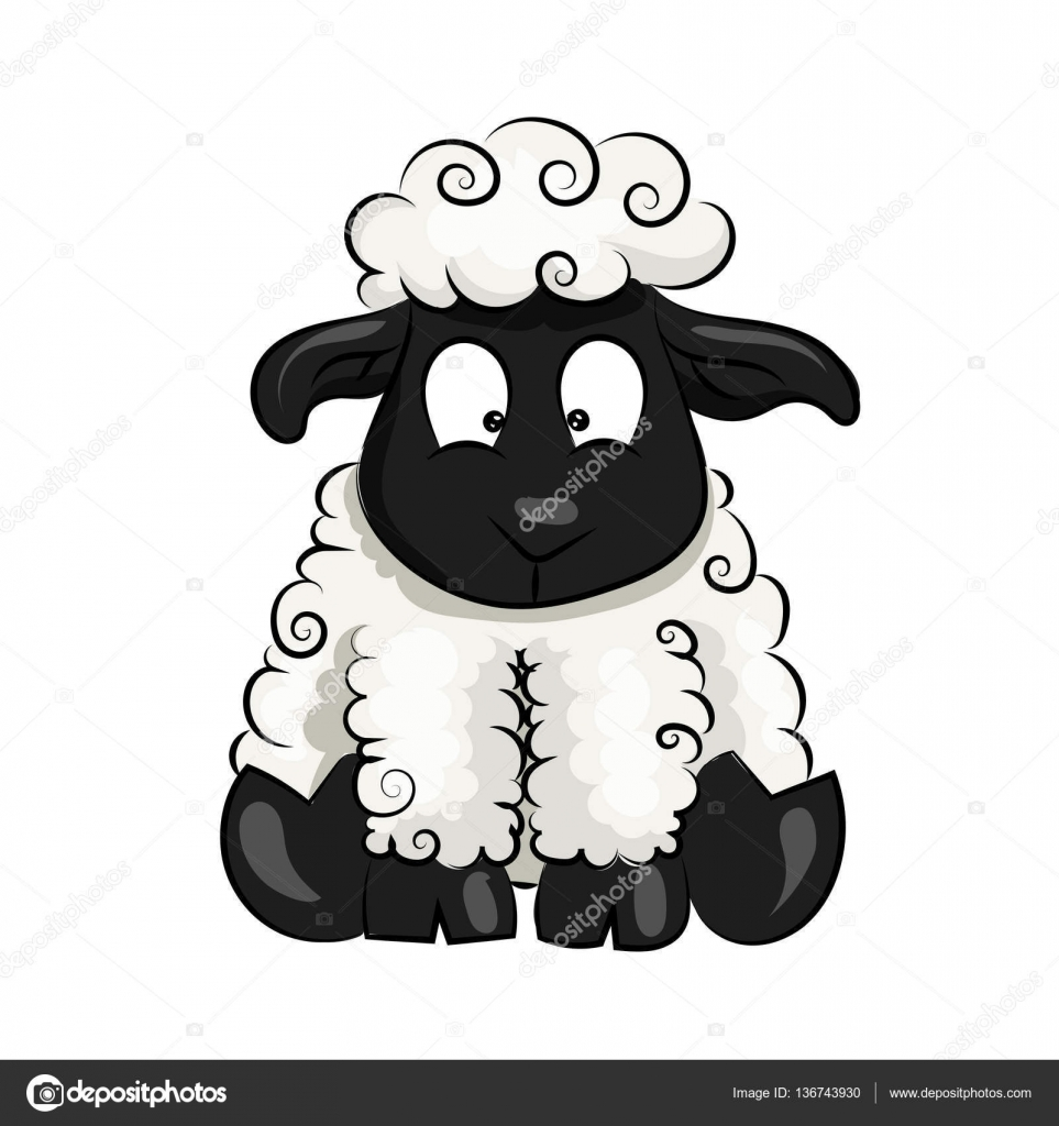 Dessin anim mignon vecteur mouton agneau fond blanc - Mouton dessin anime ...