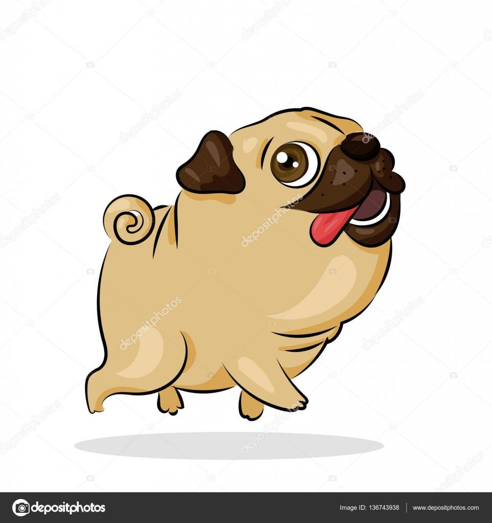 Cane del pug di cartone animato carino divertente di vettore sullo