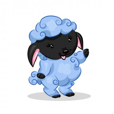cute cartoon vector sheep lamb at the white background