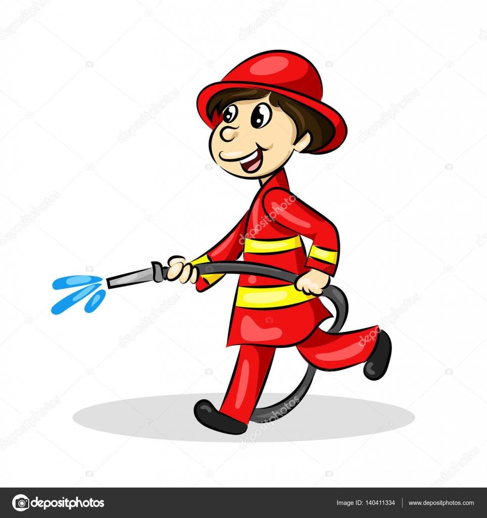 Dessin anim dr le pompier avec tuyau en uniforme image vectorielle - Dessin pompiers ...