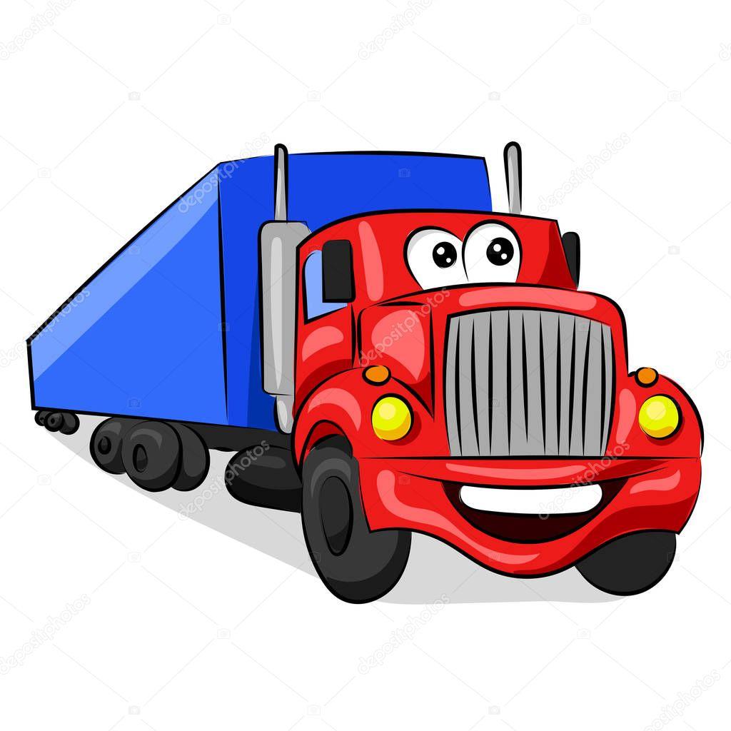 грузовик большой забавный красный кабины с глазами и ртом ...