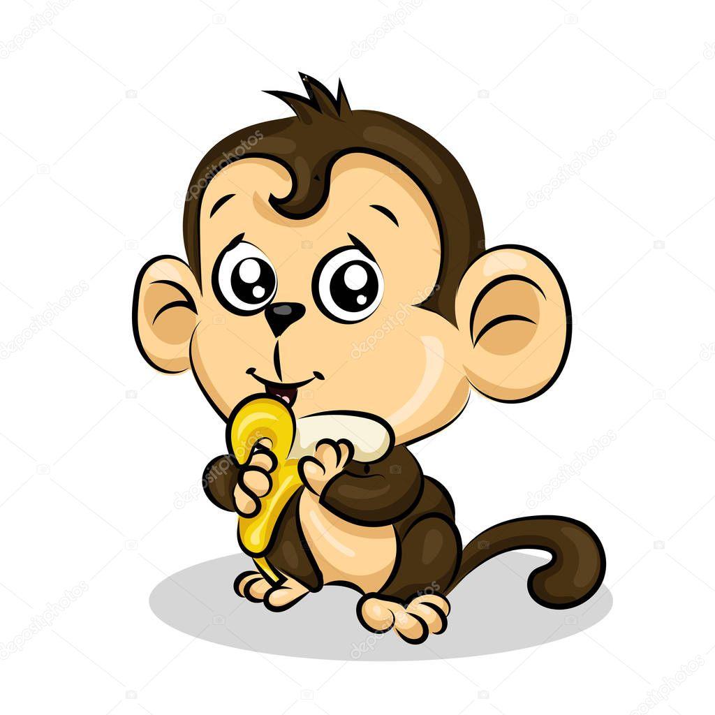 verrückte lustige nette junge Äffchen mit banane
