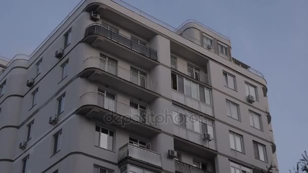 an apartment building in a middle sized town