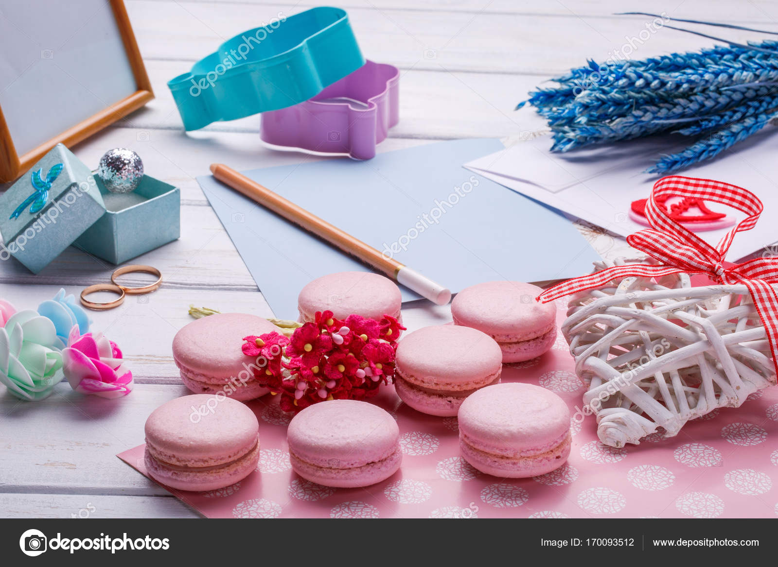 Pink macaroons. Wedding subject. wedding rings. postcard with pencil ...
