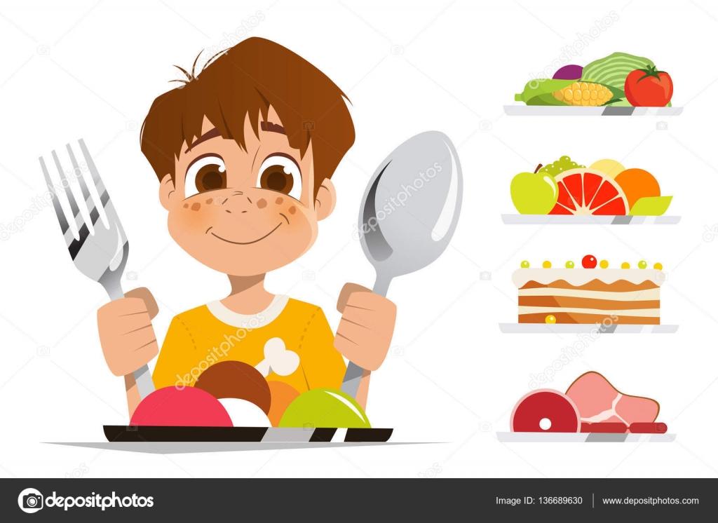 Kid Eating Spoon Clipart