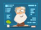 Alter Mann sitzt vorne Computer Monitor Online-Bildung