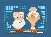 Alte Mann Frau sitzen Computer Monitor Online-Ausbildung