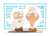 Fotografie alter Mann Frau sitzt Computermonitor online Menschen Bildung
