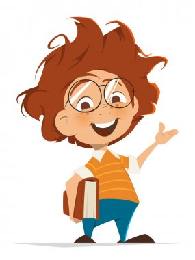 Vector character illustration of School kid with book and glasses pointing hand stock vector