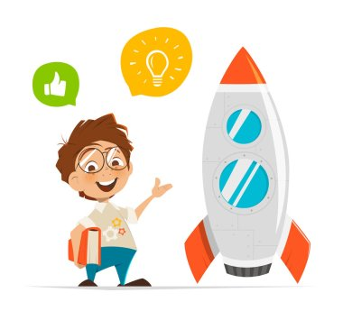 Smart kid inventor and rocket