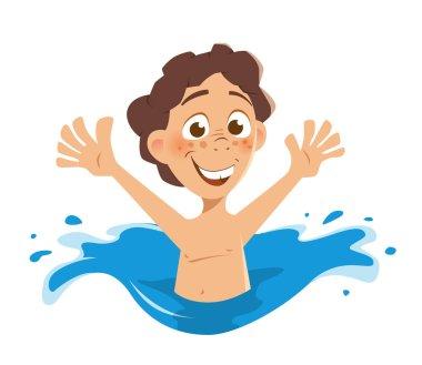 Happy smile boy kid splashing in water