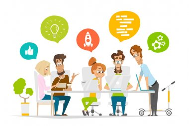 Business characters people team scene Teamwork in modern office