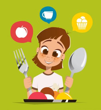 Girl kid child holding spoon and fork eating meal dish