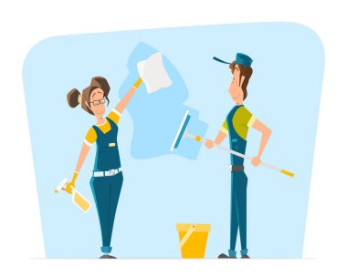 Vector character illustration smile woman man uniform cleaning b