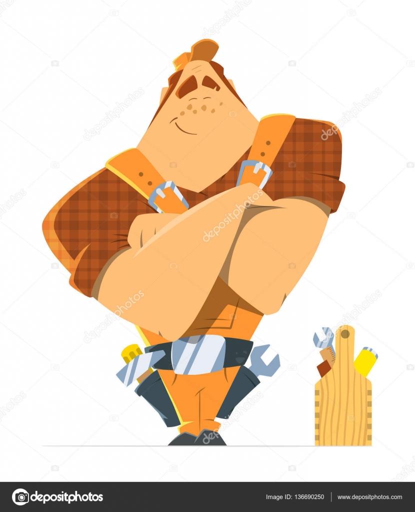 big strong man repairman locksmith or handyman worker u2014 stock