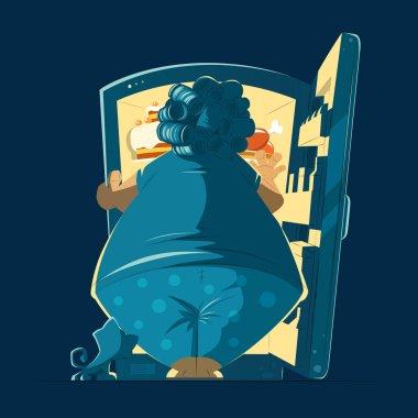 Fat woman lady and a night open fidge