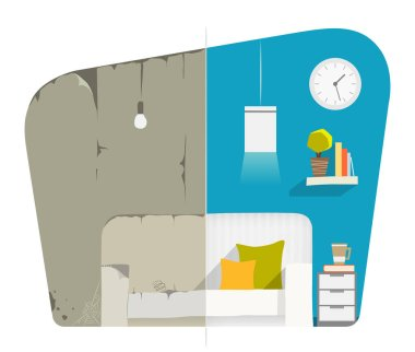 Home house flat apartment room domestic repair. Before and after