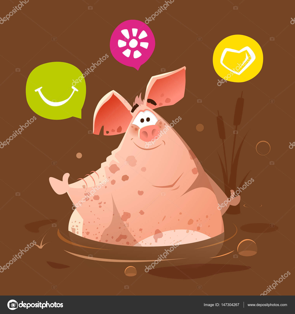 Grande gordo feliz sonrisa sucio cerdo en el lodo de pantano de ...