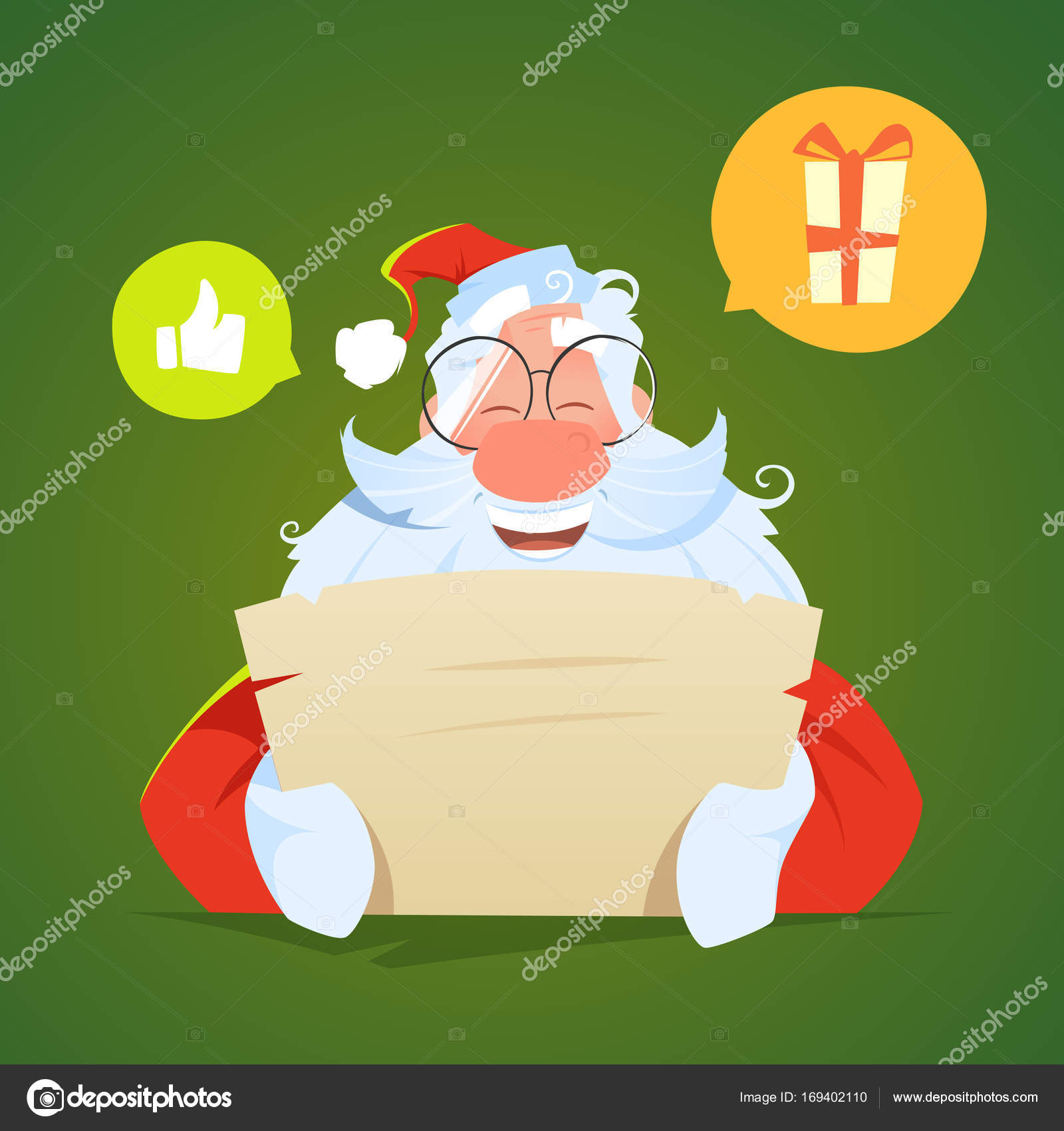 Happy smile santa claus reading a letter and laughs — Stock Vector ...