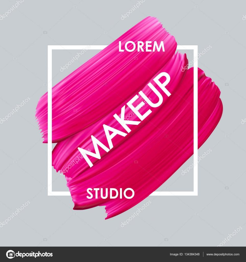 Make-up-Studio-Logo und Lippenstift Vektor-Abstrich — Stockvektor ...
