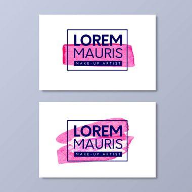 Make-up artist business card vector templates. Paint pink brush texture