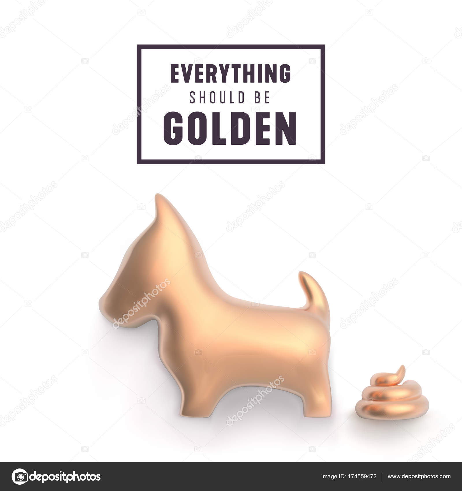 Gold Dog And Poop For Funny New Year Greetings Vector Illustrat