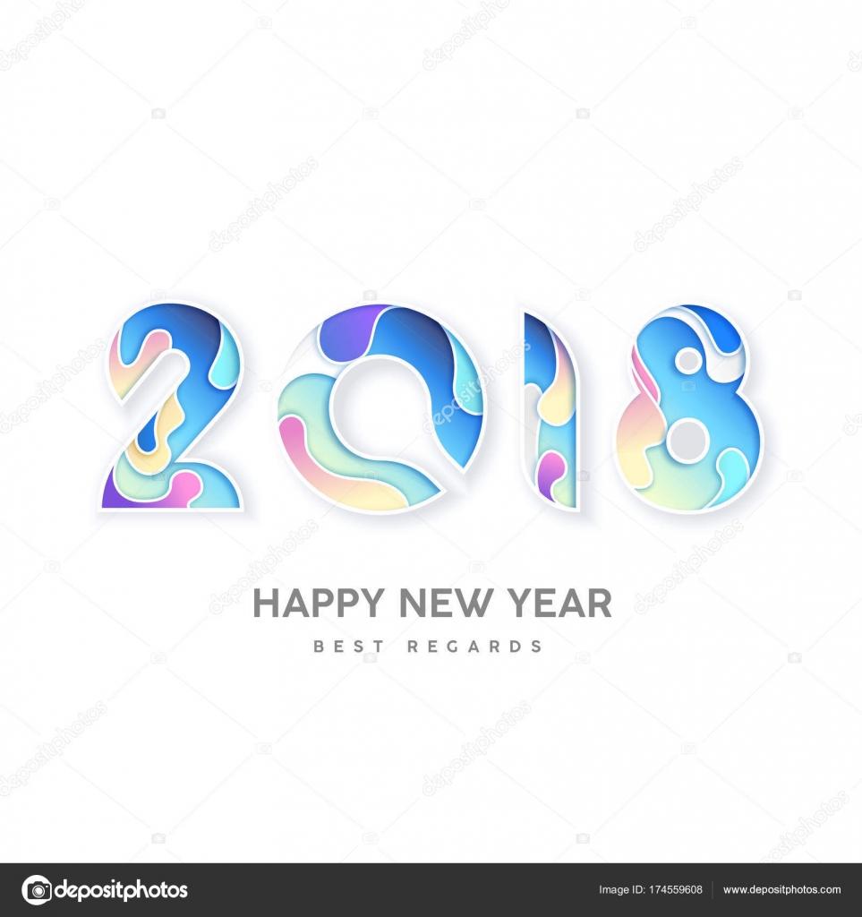 Número 2018 feliz año nuevo, plantilla de diseño de folleto de ...