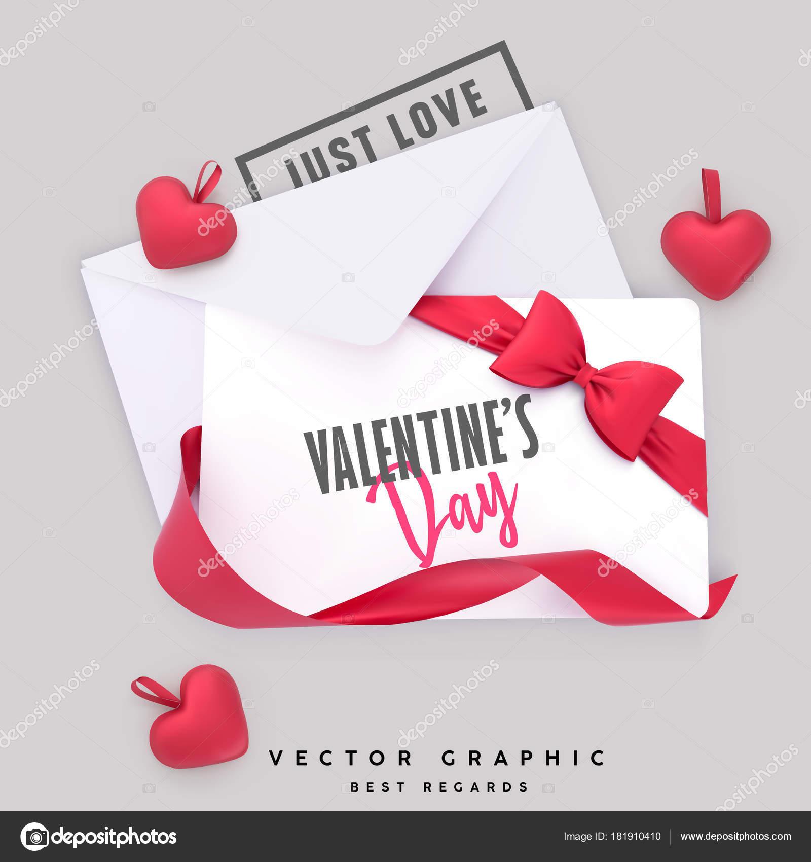 Valentin Briefumschlag und Geschenk-Karte. Valentinstag Hintergrund ...