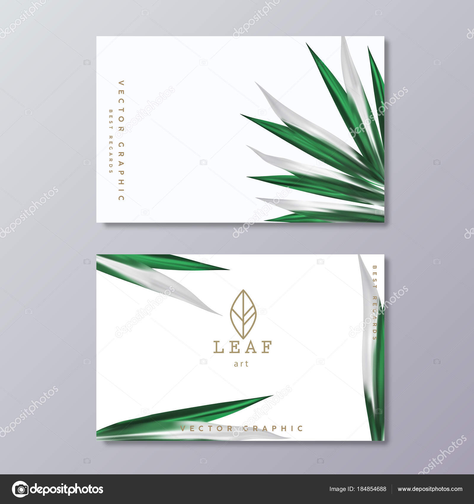 green botany business card template with tropical lush foliage o stock vector