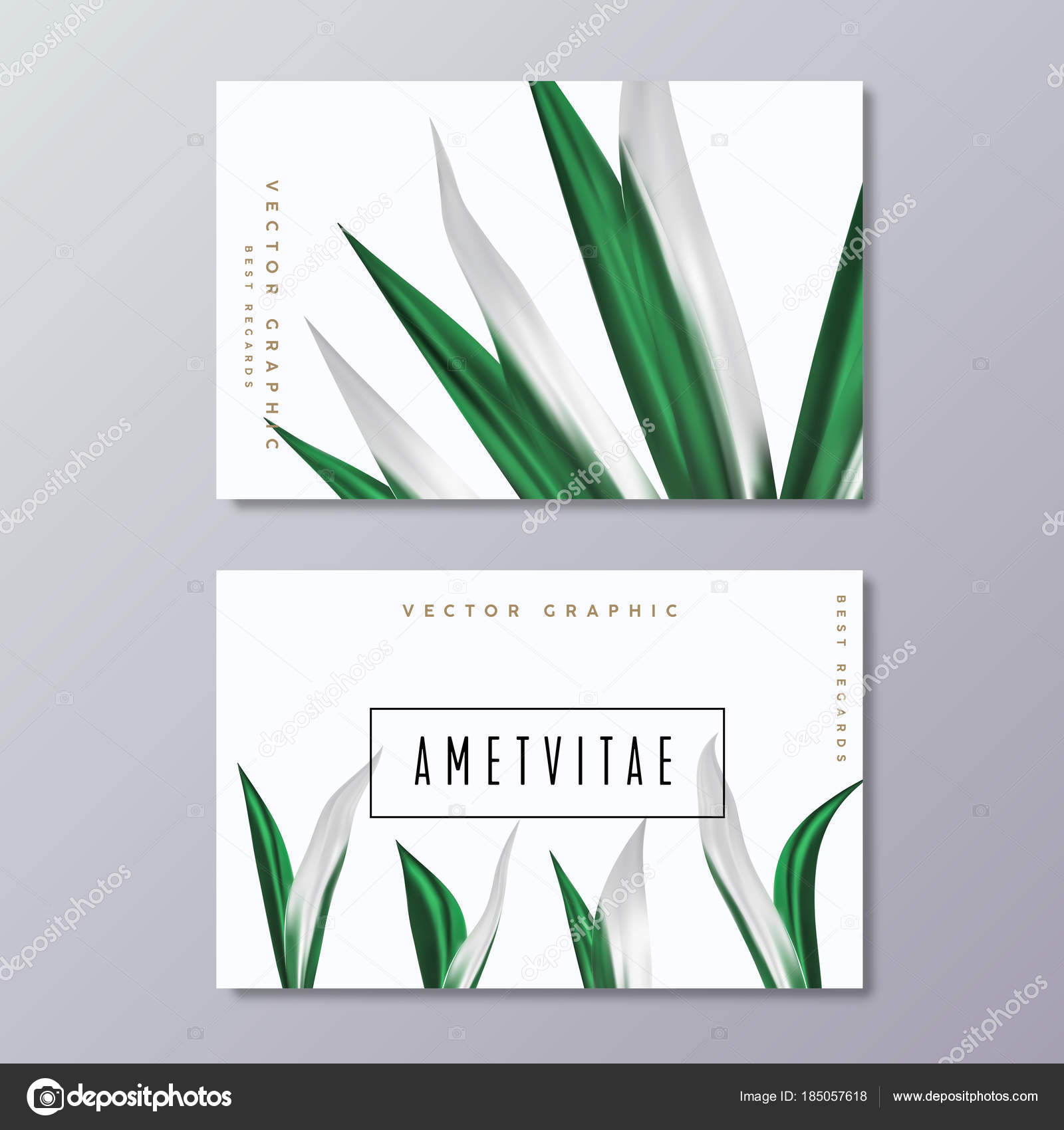 business card template with tropical palm leaves floral greener stock vector
