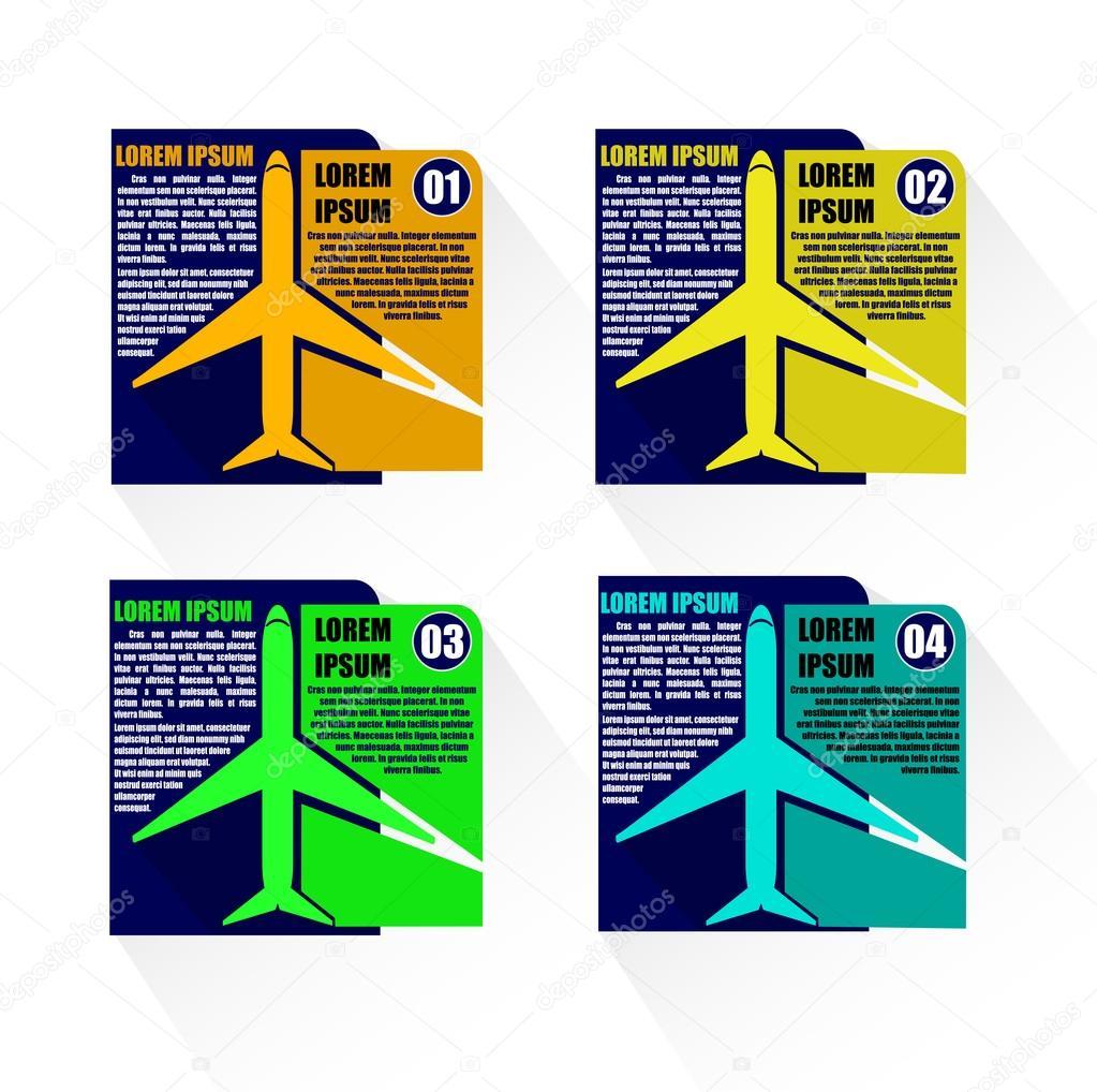 Avión plantilla infografía vectorial Illustrator — Archivo Imágenes ...