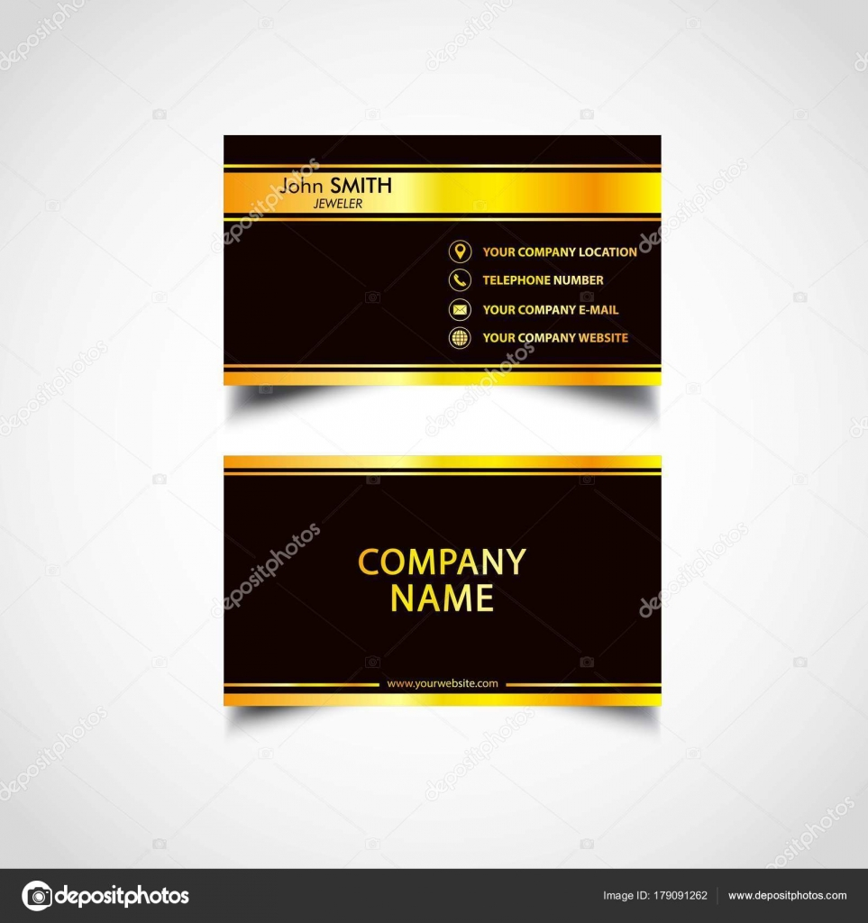 Golden Business Card Template Vecteur Illustration Fichier Eps