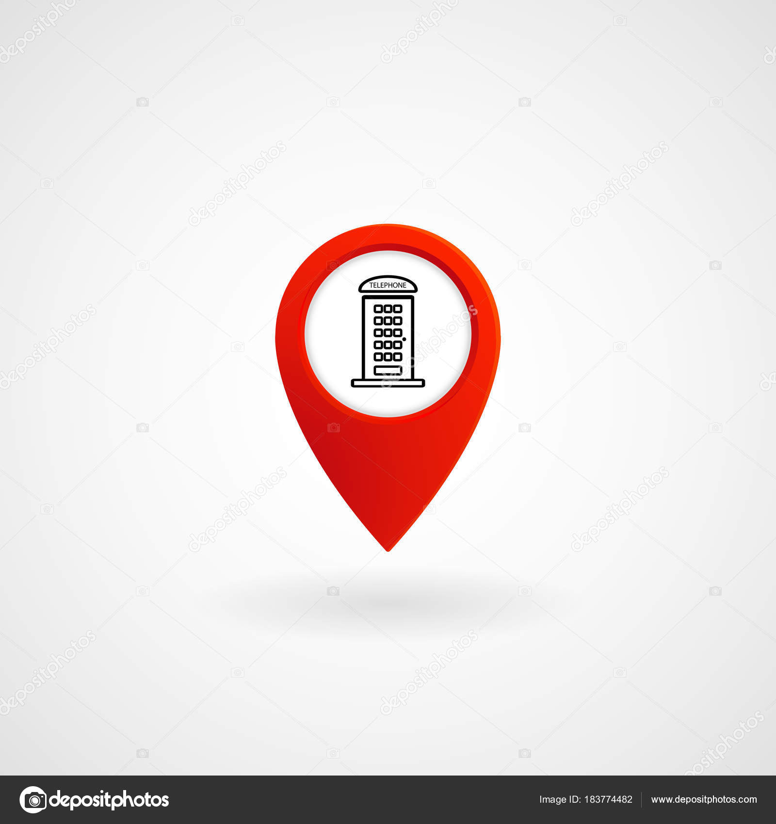 red location icon phone box vector illustration eps file stock