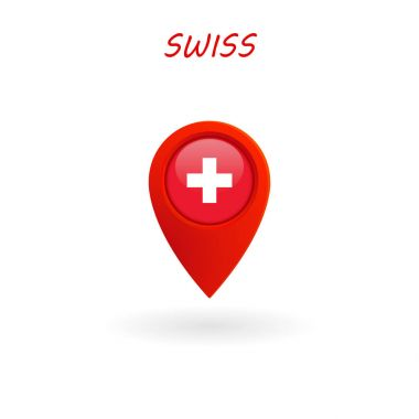 Location Icon for Swiss Flag, Vector, Illustration, Eps File