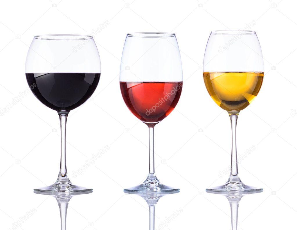 blanc rose et rouge verre vin isolated on white background photographie. Black Bedroom Furniture Sets. Home Design Ideas