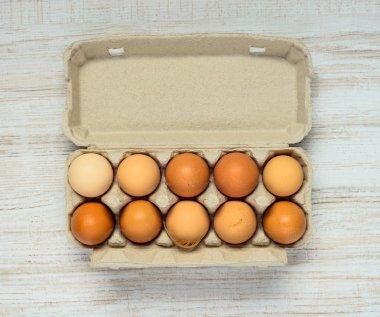 Egg Carton with Fresh Organic Chicken Eggs stock vector