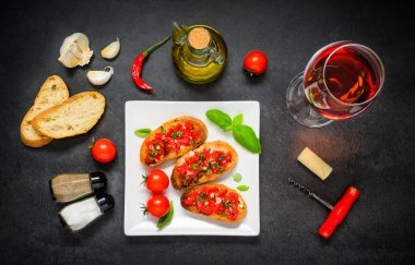 Bruschetta with Olive Oil and Rose Wine