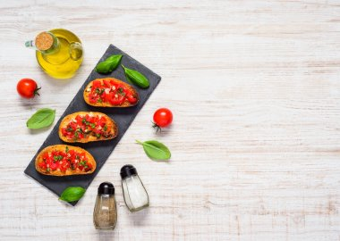 Bruschetta with Olive Oil and Copy Space Top View