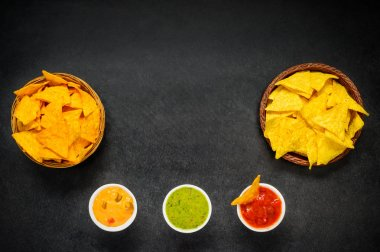 Nacho Chips with Dip and Copy Space
